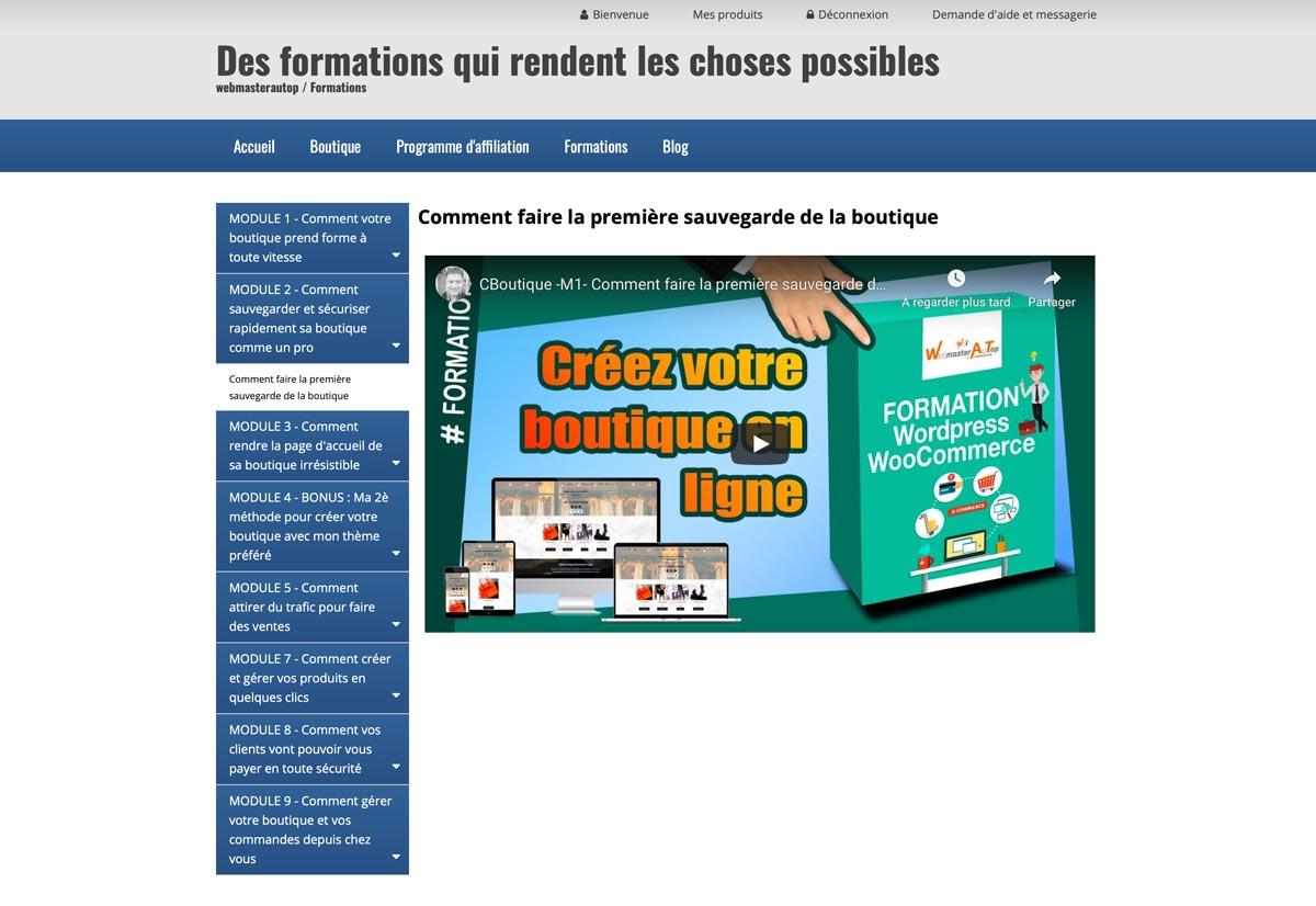 Une formation e commerce de création de boutique en ligne par webmasterautop